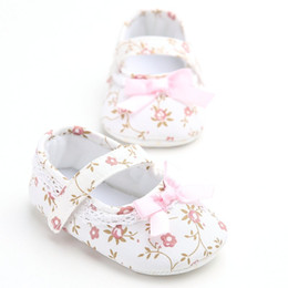 Wholesale Infant Ballet Dress - Wholesale- Mary Jane Ballet Dress Baby Toddler First Walkers Crib Floral Soft Soled Anti-Slip Shoes Infant Newborn Girls Princess Shoes
