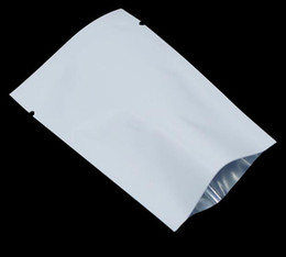 Wholesale Vacuum Packaging Bags - 500pcs lot Heat Seal White Aluminum Foil Open Top Food Snack Plastic Packaging Bags Mylar Vacuum Pouches Free Shipping