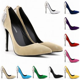 Wholesale Green Print Corset - Chaussure Femme Womens Faux Velve Sexy High Heels Pointed Toe Corset Snake Zipper Pumps Court Wedding Shoes US Size 4-11 D0053