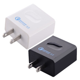 Wholesale qualcomm mobile phones - Fast Quick usb Wall Charger Us Eu Qualcomm Quick Charge 3.0 Travel Wall Mobile Phone Charger for iphone 5 6 7 samsung s6 s7 s8 white Black