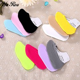 Wholesale Invisible Comb - Wholesale-YUROU Hosiery 2016 Summer Style Candy Colored Combed Cotton Female Boat Women Ankle Socks Invisible Women Slipper Low Cut Socks