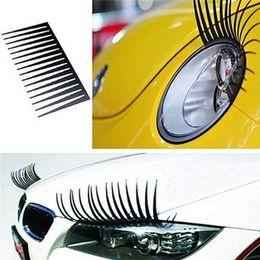 Wholesale Cute Automotive - 20Pcs(=10Pairs) Black Cute 3D Car Logo Sticker decals Car Headlight Eyelash Automotive Eyelashes Eyeliner car accesories Free shipping
