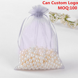 Wholesale wholesale printed organza gift bags - Wholesale-13x18cm Grey Organza Jewelry Gift Bags Small Drawstring Pouches Candy Bags Party Customed Logo Printed 100pcs lot Wholesale