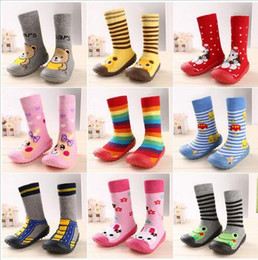 Wholesale Boys Slippers Socks - Wholesale- 2016 Fashion Newborn Baby Boy Girl Socks Anti Slip Newborn Animal Cartoon Shoes Slippers Boots Soft Rubber Soled Outdoor Shoes