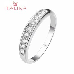 Wholesale Genuine Crystal Jewellery - Genuine ITALINA Brand Rings For Women Rose old Platinum Plated Fashion Silver Jewelry Women Jewellery Made Austrian Crystal