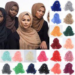 Wholesale Muslim Hijab Shawls - Women Maxi Hijabs Shawls Oversize Islamic Head Wraps Soft Long Muslim Frayed Crepe Premium Cotton Plain Hijab Scarf 20 pcs YYA348