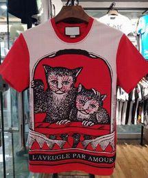 Wholesale Double Button Shirts - Mens t-shirt Double Cat Print tops tees fitness hip hop men cotton tshirts homme camisetas t shirt Italia brand clothing military