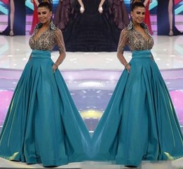 Wholesale pocket world - Green Miss World Long Sleeve Evening Gowns 2017 New Sheer V-Neck Beading Crystals Pageant Dress with Pockets Women Formal Wear Prom Dresses