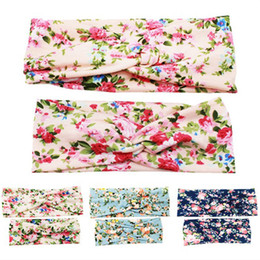 mom band Promo Codes - 4Pairs Mom and Baby Kids Girl Children Toddler Infant Print Flower Floral Bow Hairband Turban Knot Rabbit Headband Hair Band Accessories