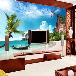 Wholesale Vinyl Photos - Custom photo wallpaper large mural wall stickers beach beach coconut trees blue sky white clouds island landscape