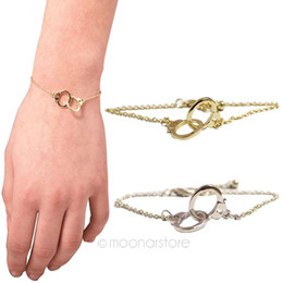 Wholesale Knot Bracelets Silver - Gold&Silver Plated Handcuff Design Bracelet Women Cuff Bangle Charm Bracelets Twin Knots Buckle Hand Chain