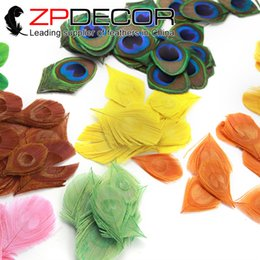 Wholesale Peacock Plumage - ZPDECOR 200pcs lot 8-10cm(3-4inch) Handwork Trimmed Mix Color Peacock Feather Tail Eye Plumage For DIY Handmade