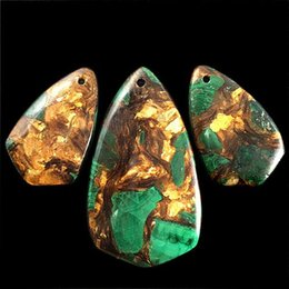 Малахитовые бусины подвески онлайн-YZ29 3шт MalachiteChalcopyrite кулон из бисера DIY ювелирные изделия делая камень