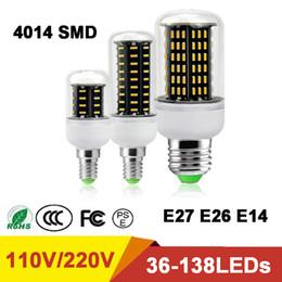 Wholesale Free Flicker - NEW High Luminous Flux 4014 SMD No Flicker LED Corn Bulb E27 E26 E14 110V 220V LED lamp Spot light DHL Free Shipping