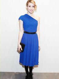vestido de celebridade de luva de capa de comprimento de chá Desconto 2018 chiffon chá comprimento celebridade formal vestidos de festa com faixa de uma capa tampada pregas vestidos curtos de baile