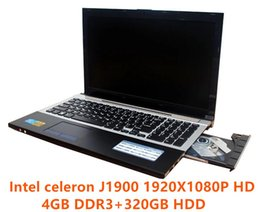 Wholesale Dvd Rw Hdd - 1920X1080p 15.6inch 4GB RAM+320GB HDD J1900 Duad Core Laptop Computer with Russian Keyboard WIFI HDMI DVD-RW Windows7 8 Notebook