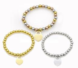 Bracelete de contas de ouro rosa com contas on-line-Charme do coração Frisado Pulseiras Americanas moda feminina titanium aço pulseiras banhado a ouro pulseiras 3 cores rose gold frisado frete grátis