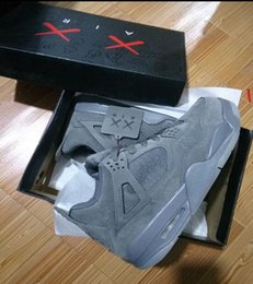 Wholesale Fast Mid - Air KAWS 4s Retro XX Kaws Cool Kaws Black Suede Grey Best Quality With Box Wholesale Basketball Shoes Fast shipping