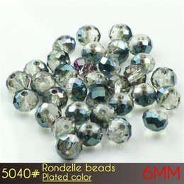 Wholesale Shinning Glasses - Chinese Crystal Beads Wholesale or Retail Glass Shinning Rondelle Beads 6mm Plated colors A5040 100pcs set more Plated colors