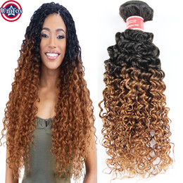 Wholesale Single Human Hair Extensions - Ombre Brazilian Hair Jerry Curly Single Bundle Brazilian Ombre Kinky Curly Virgin Human Hair Weave Ombre Hair Extensions 1b 30 Unifos