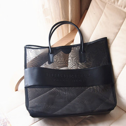 Wholesale Transparent Large Beach Bags - Freee shipping designer brand large transparent cosmetic bag fashion shoulder bag beach bag women necessaire handbag
