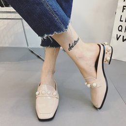 Wholesale Good Pearl - Women med heel slippers 2017 hot half leather slip-on summer good square toe pearl lady sandals YonDream-304