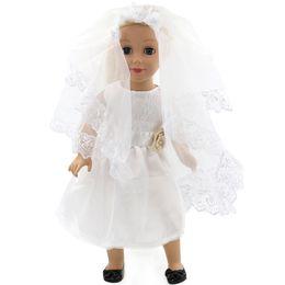 Handgemachte hochzeitspuppen online-American Girl Puppe Kleidung Weiß Hochzeit 18 Zoll Puppe Kleidung Madame Alexander Handmade American Girl Puppe Kleidung 4 Arten D-1