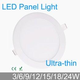 Wholesale Led Grid Lighting Wholesales - Wholesale- 3W 4W 6W 9W 12W 15W 18W 24W LED grid downlight round LED panel ceiling painel light fixtures lamp 4000K for bathroom luminaire