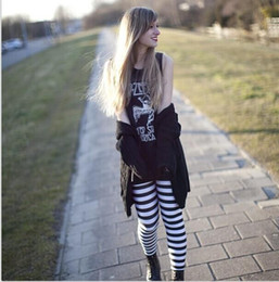 Wholesale Sexy Womens Leggings - Skinny Leggings Fashion Classic black and white stripes womens Clothing Sexy Legging Patterned Girl Zebra Strip Leggings Tights Space pants