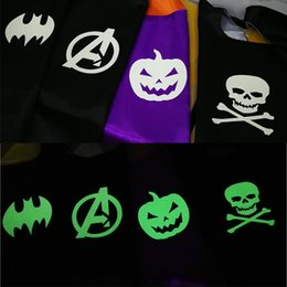 Wholesale Kids Costume Patterns - Halloween Double side L70*70cm kids Superhero Cosplay Capes Pumpkin cloak kids Luminous Halloween Carnival Luminous costume