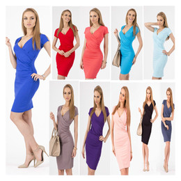 Wholesale Pink Dresses United States - V-neck Short Sleeve knee-length Sexy Brief Women's Dresses Europe and The United States Hot Sales Summer Dress Lady's Wear Pencil Dresses
