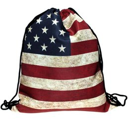Wholesale String Flags Wholesale - Wholesale- Naivety 2016 New Fashion Unisex 3D Printing Flag Patten Drawstring Backpack Bags Gift AUG30 drop shipping