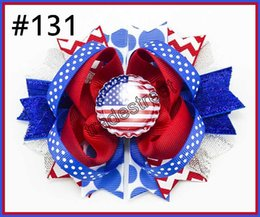 Wholesale 4th July Wholesale - free shipping 50pcs Newest 4th of july hair bows Fashioin girl headband boutique hair bows