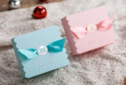 Wholesale candy kids favors bags - Baby Shower Candy Favors Box Blue Pink Creative Party Decorations Baby Girl Boy Sweets Bags Wedding Christmas Birthday Kids gift wrap