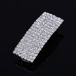 Wholesale Bling Hearts Wholesale - Hot Sale Barrette Hair Clips 7 Row Women Chic Full Crystal Rhinestone Square Barrette Fine Bling Hair Clips Hairpin Accessories for Women