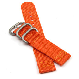 Wholesale 24mm Watch Strap Orange - Orange Khaki High Quality Nylon Watch Bands Nato Straps 3-Ring For Rolex 20mm 22mm 24mm Free Shipping