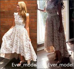 Wholesale High Low Wedding Dresses Sale - Vintage High Low Country Wedding Dresses A Line Simple Lace Appliques Jewel Bridal Gowns Cheap Sale Customized 2017 Plus Size