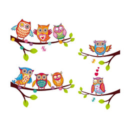 Wholesale owl stickers for nursery - XH6226 Owls On Branch Tree Wall Stickers For Kids Rooms Adesivo De Parede Pvc Wall Decal Poster Mural Nursery Cartoon Room Decor
