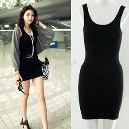 Wholesale Tight T Shirt Dresses - Wholesale- 2015 Summer Long T-Shirt Design Lady Bottoming Solid Color Women One-piece Dresses Fashion Slim Hip Tight Tank Vest Dress