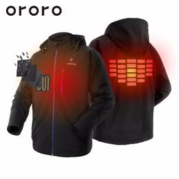Wholesale Heated Fleece Jacket - US SELLER! 2017 ORORO Fashion Mens Black Hooded Heated Fleece Jackets Winterwarm Biker Outerwear Snow Windbreaker Coats Hoodie