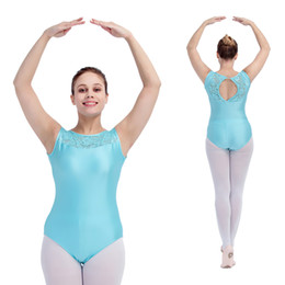 Wholesale Lace Back Girls Tank Tops - Girls Gymnastics Light River Blue Nylon Lycra Tank Ballet Dance Leotards Lace Top Front and Back Hole