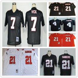 Wholesale Football Brett Favre - Throwback Atlanta 4 Brett Favre 7 Michael Vick 21 Deion Sanders White Black Home Away Stitched Football Jerseys