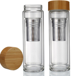 Wholesale Tea Strainer Baskets Wholesale - Free shipping Wholesale 400ml Bamboo lid Double Walled glass tea tumbler. Includes strainer and infuser basket LLFA
