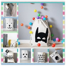 Wholesale Batman Stuff Toys - Wholesale INS Large Baby Toys Bag Storage Bags Canvas Bear Batman Laundry Hanging Drawstring Bag Household Pouch Home Storage Organization