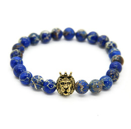 Wholesale mens african - 1PCS New Design 8mm Blue Sea Sediment Stone Beads With Mix Color Lion Head Hero Bracelets, Mens Jewelry,Nice Gift