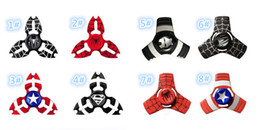 Wholesale Hot Men Toys - NEWEST HOT Metal tripod Crab Captain America Spider Iron Man EDC Hand Spinner Fidget Toys Finger Fingertips Gyro Tri Triangle Spinners DHL