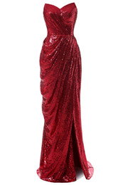 Wholesale Sequin Floor Length Prom Dress - 2017 New Chinese Red Ruffle Sequin Floor Length Mermaid Sweetheart Sexy Slit Fall Winter Prom Evening Dresses with Zipper Formal Gowns