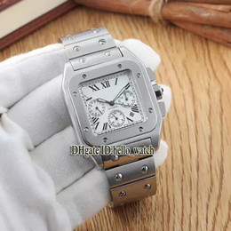 Wholesale Cheap Large Silver Bracelet - Super Clone Cheap Luxury Brand SANTO 100 X-Large W20090X8 White Dial Automatic Mens Watch Stainless Steel Bracelet Gents Sport New Watches