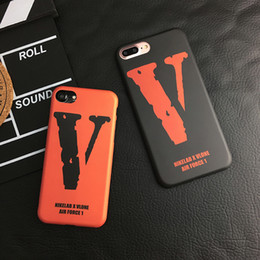 Wholesale Iphone V - Vlone Orange V Case Black for 6s   6puls   iPhone7puls Apple Phone Case Couple Full Pack Soft Case