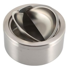 Wholesale Stainless Steel Covered Ashtrays - 1pc Stainless Steel Cigarette Lidded Ashtray Silver Round Windproof Ashtray with Cover Portable Outdoor Accessories